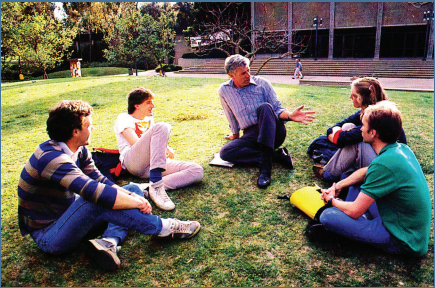 A typical sight during his teaching years: Dr. Saltman hanging out with students outside of class to discuss school and prospective future plans.