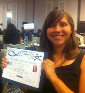 Lauren Mejia, a first-year biochemistry student who was awarded the HENAAC NAVSEA/SPAWAR scholarship.
